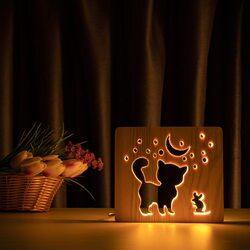 """Светильник ночник ArtEco Light из дерева LED """"Кот и мышка под луной"""" с пультом и регулировкой света, цвет теплый белый"""