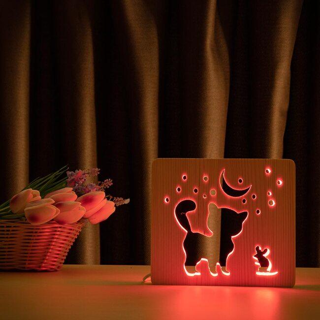 """Светильник ночник ArtEco Light из дерева LED """"Кот и мышка под луной"""" с пультом и регулировкой цвета, RGB"""