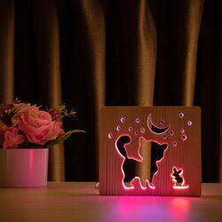 """Светильник ночник ArtEco Light из дерева LED """"Кот и мышка под луной"""" с пультом и регулировкой цвета, двойной RGB"""