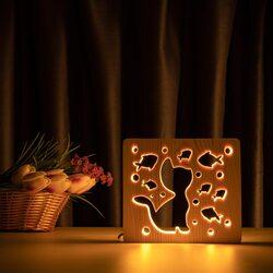 """Светильник ночник ArtEco Light из дерева LED """"Кот и рыбки"""" с пультом и регулировкой света, цвет теплый белый"""