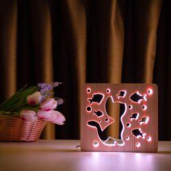 """Светильник ночник ArtEco Light из дерева LED """"Кот и рыбки"""" с пультом и регулировкой цвета, RGB"""