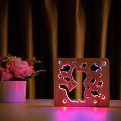 """Светильник ночник ArtEco Light из дерева LED """"Кот и рыбки"""" с пультом и регулировкой цвета, двойной RGB"""