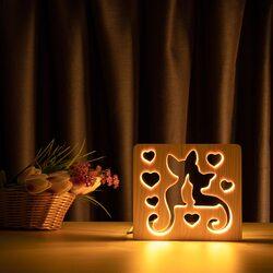 """Светильник ночник ArtEco Light из дерева LED """"Коты и любовь"""" с пультом и регулировкой света, цвет теплый белый"""