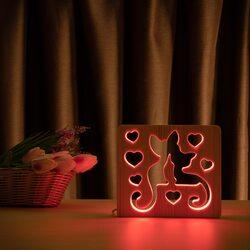 """Светильник ночник ArtEco Light из дерева LED """"Коты и любовь"""" с пультом и регулировкой цвета, RGB"""