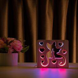 """Светильник ночник ArtEco Light из дерева LED """"Коты и любовь"""" с пультом и регулировкой цвета, двойной RGB"""