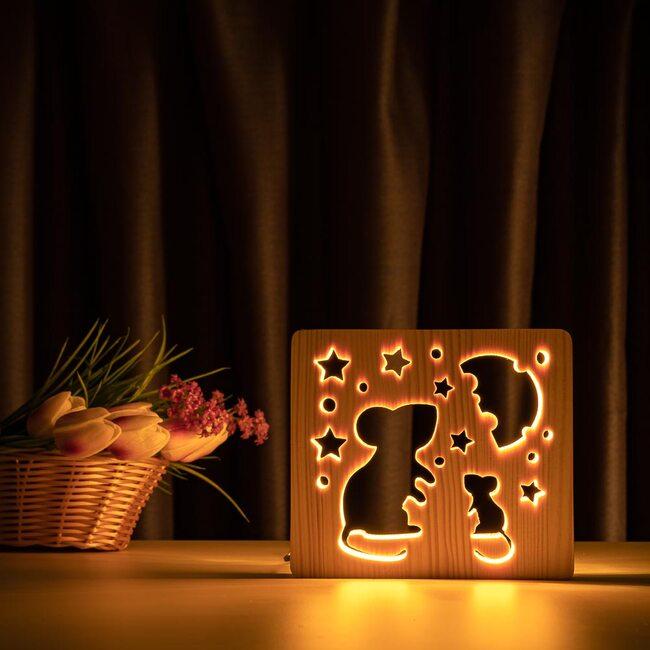 """Светильник ночник ArtEco Light из дерева LED """"Мышки и сыр"""" с пультом и регулировкой света, цвет теплый белый"""
