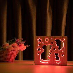 """Светильник ночник ArtEco Light из дерева LED """"Мышки и сыр"""" с пультом и регулировкой цвета, RGB"""