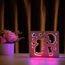"""Светильник ночник ArtEco Light из дерева LED """"Мышки и сыр"""" с пультом и регулировкой цвета, двойной RGB"""
