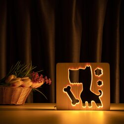 """Светильник ночник ArtEco Light из дерева LED """"Пес и косточка"""" с пультом и регулировкой света, цвет теплый белый"""