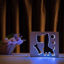 """Светильник ночник ArtEco Light из дерева LED """"Пес и косточка"""" с пультом и регулировкой цвета, RGB"""