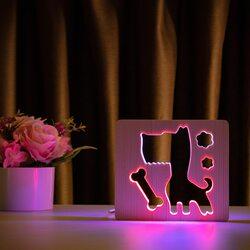 """Светильник ночник ArtEco Light из дерева LED """"Пес и косточка"""" с пультом и регулировкой цвета, двойной RGB"""