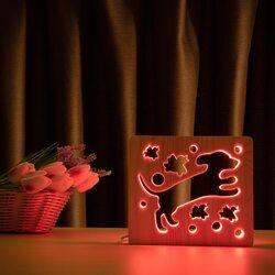 """Светильник ночник ArtEco Light из дерева LED """"Собака и птички"""" с пультом и регулировкой цвета, RGB"""