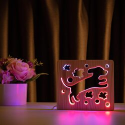 """Светильник ночник ArtEco Light из дерева LED """"Собака и птички"""" с пультом и регулировкой цвета, двойной RGB"""