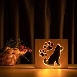 """Светильник ночник ArtEco Light из дерева LED """"Собака и следы"""" с пультом и регулировкой света, цвет теплый белый"""