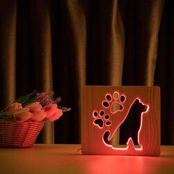"""Светильник ночник ArtEco Light из дерева LED """"Собака и следы"""" с пультом и регулировкой цвета, RGB"""