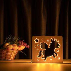 """Світильник нічник ArtEco Light з дерева LED """"Чарівний єдиноріг"""" з пультом та регулюванням світла, колір теплий білий"""