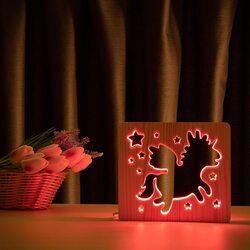 """Светильник ночник ArtEco Light из дерева LED """"Волшебный единорог"""" с пультом и регулировкой цвета, RGB"""