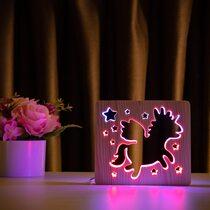 """Светильник ночник ArtEco Light из дерева LED """"Волшебный единорог"""" с пультом и регулировкой цвета, двойной RGB"""