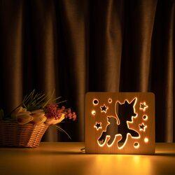 """Светильник ночник ArtEco Light из дерева LED """"Пони-единорог"""" с пультом и регулировкой света, цвет теплый белый"""