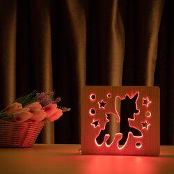 """Светильник ночник ArtEco Light из дерева LED """"Пони-единорог"""" с пультом и регулировкой цвета, RGB"""