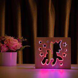 """Светильник ночник ArtEco Light из дерева LED """"Пони-единорог"""" с пультом и регулировкой цвета, двойной RGB"""