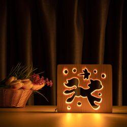 """Светильник ночник ArtEco Light из дерева LED """"Пони и стрекоза"""" с пультом и регулировкой света, цвет теплый белый"""