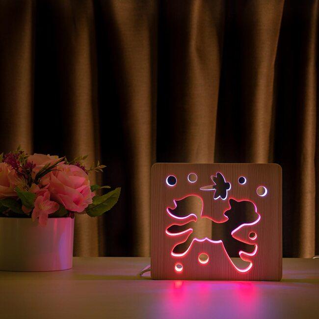 """Светильник ночник ArtEco Light из дерева LED """"Пони и стрекоза"""" с пультом и регулировкой цвета, двойной RGB"""