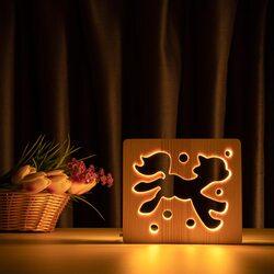 """Светильник ночник ArtEco Light из дерева LED """"Сказочный пони"""" с пультом и регулировкой света, цвет теплый белый"""