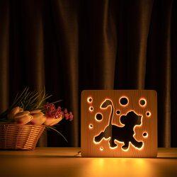 """Светильник ночник ArtEco Light из дерева LED """"Веселый львенок"""" с пультом и регулировкой света, цвет теплый белый"""