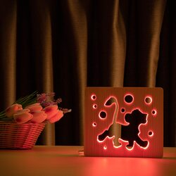 """Светильник ночник ArtEco Light из дерева LED """"Веселый львенок"""" с пультом и регулировкой цвета, RGB"""