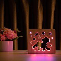 """Светильник ночник ArtEco Light из дерева LED """"Веселый львенок"""" с пультом и регулировкой цвета, двойной RGB"""