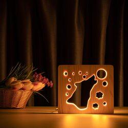 """Светильник ночник ArtEco Light из дерева LED """"Волк и луна"""" с пультом и регулировкой света, цвет теплый белый"""
