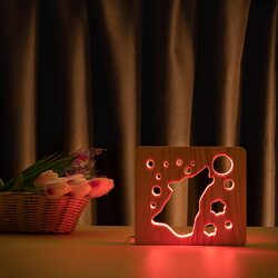 """Светильник ночник ArtEco Light из дерева LED """"Волк и луна"""" с пультом и регулировкой цвета, RGB"""