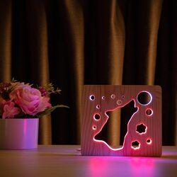 """Светильник ночник ArtEco Light из дерева LED """"Волк и луна"""" с пультом и регулировкой цвета, двойной RGB"""
