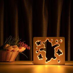 """Светильник ночник ArtEco Light из дерева LED """"Веселый медвеженок"""" с пультом и регулировкой света, цвет теплый белый"""