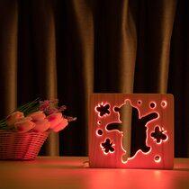 """Светильник ночник ArtEco Light из дерева LED """"Веселый медвеженок"""" с пультом и регулировкой цвета, RGB"""