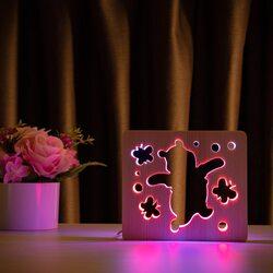 """Светильник ночник ArtEco Light из дерева LED """"Веселый медвеженок"""" с пультом и регулировкой цвета, двойной RGB"""