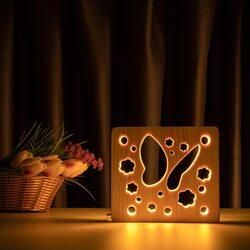 """Светильник ночник ArtEco Light из дерева LED """"Бабочка"""" с пультом и регулировкой света, цвет теплый белый"""