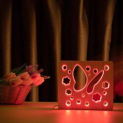"""Светильник ночник ArtEco Light из дерева LED """"Бабочка"""" с пультом и регулировкой цвета, RGB"""