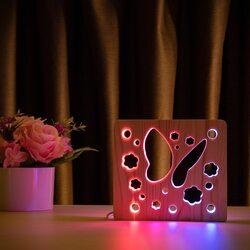 """Светильник ночник ArtEco Light из дерева LED """"Бабочка"""" с пультом и регулировкой цвета, двойной RGB"""