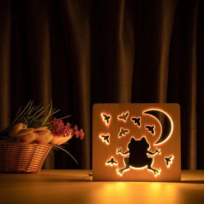 """Светильник ночник ArtEco Light из дерева LED """"Лягушка и сверчки"""" с пультом и регулировкой света, цвет теплый белый"""