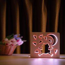 """Светильник ночник ArtEco Light из дерева LED """"Лягушка и сверчки"""" с пультом и регулировкой цвета, RGB"""