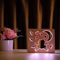 """Светильник ночник ArtEco Light из дерева LED """"Лягушка и сверчки"""" с пультом и регулировкой цвета, двойной RGB"""