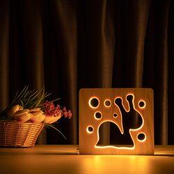 """Светильник ночник ArtEco Light из дерева LED """"Улитка"""" с пультом и регулировкой света, цвет теплый белый"""
