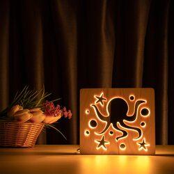 """Светильник ночник ArtEco Light из дерева LED """"Морской осьминог"""" с пультом и регулировкой света, цвет теплый белый"""