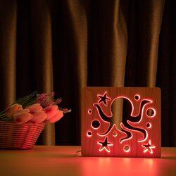 """Светильник ночник ArtEco Light из дерева LED """"Морской осьминог"""" с пультом и регулировкой цвета, RGB"""