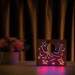 """Светильник ночник ArtEco Light из дерева LED """"Морской осьминог"""" с пультом и регулировкой цвета, двойной RGB"""