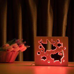 """Светильник ночник ArtEco Light из дерева LED """"Две акулы и рыбки"""" с пультом и регулировкой цвета, RGB"""