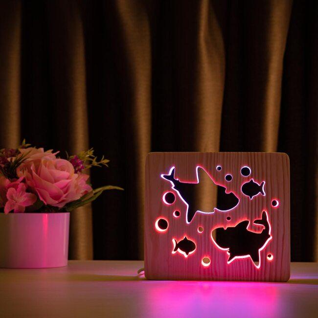 """Светильник ночник ArtEco Light из дерева LED """"Две акулы и рыбки"""" с пультом и регулировкой цвета, двойной RGB"""