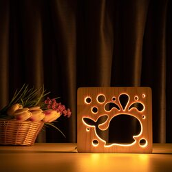 """Светильник ночник ArtEco Light из дерева LED """"Кит"""" с пультом и регулировкой света, цвет теплый белый"""